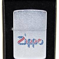 1981 Zippo Lighter With Unusual Zippo Stars & Stripes Ribbon Logo.JPG