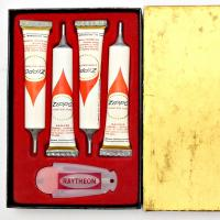 Rare 1960's Zippo Small Gift Set Style Service Kit with 4 One-Shot Fluid Tubes and Advertising Flint Dispenser