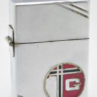 1934 3 Barrel Outside Hinge Zippo Lighter With Unusual Round 2 Color Monogram Metallique