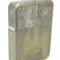 1940-41 Unusual Employee's Personal zippo Lighter with Brass Bottom, Steel Lid, and 4 Barrel Hinge